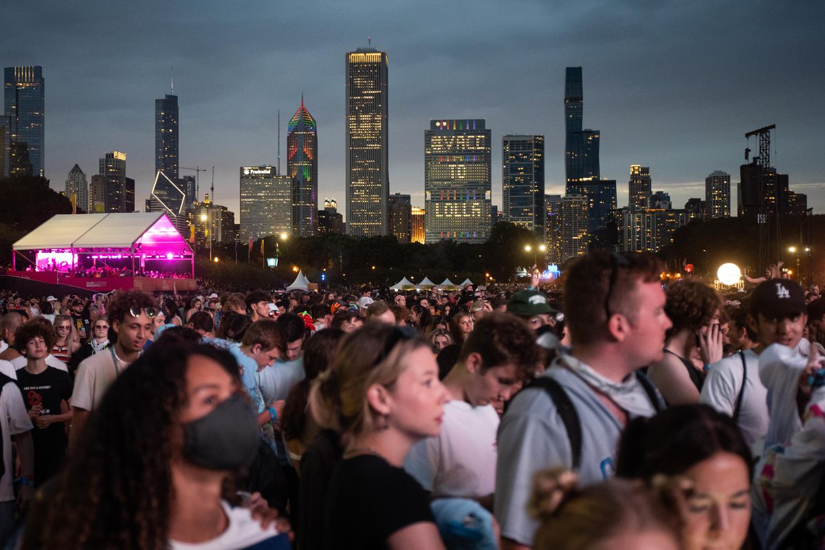 People flock to the T-Mobile stage before Tyler, The Creator's set.