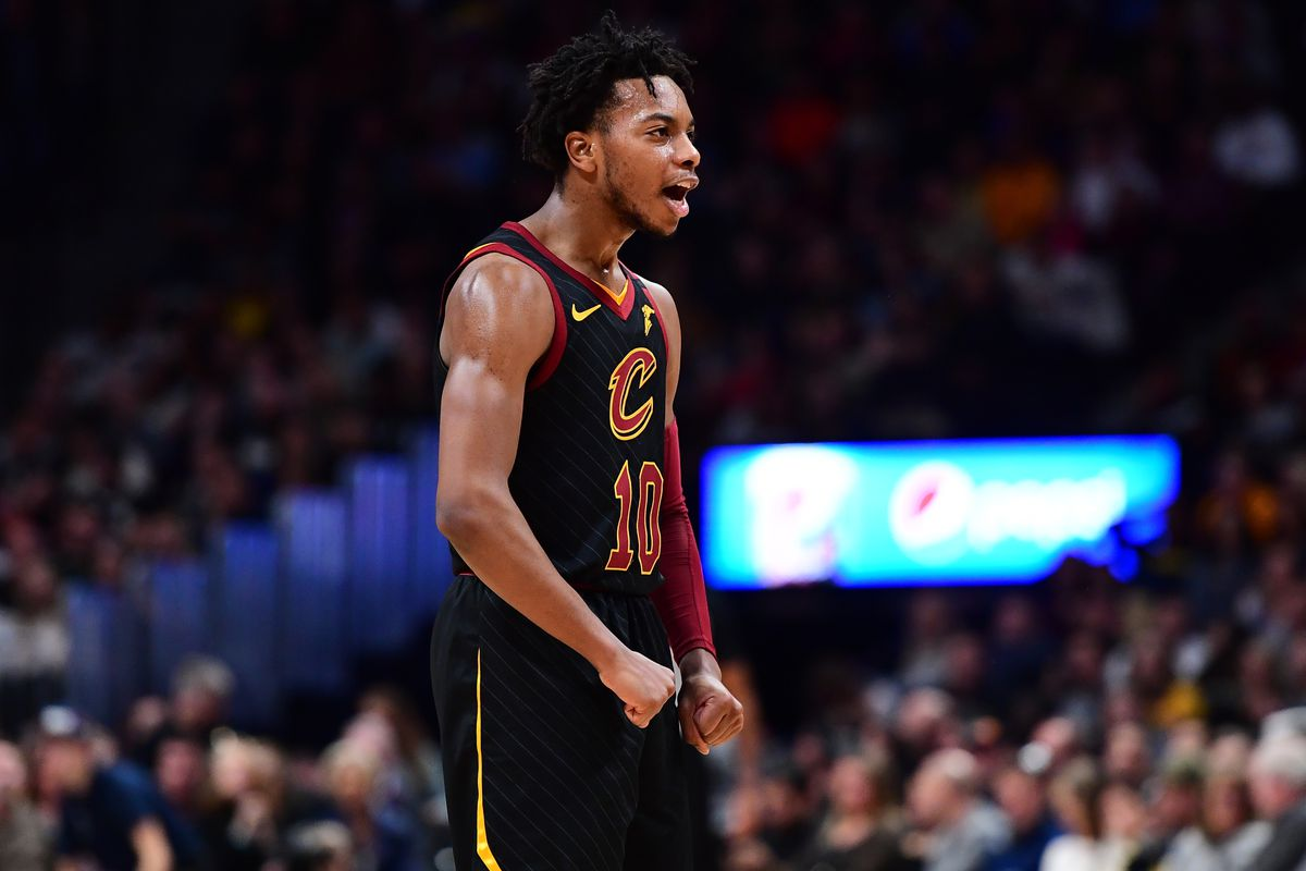 Cleveland Cavaliers guard Darius Garland reacts to a score in the second quarter against the Denver Nuggets at the Pepsi Center.