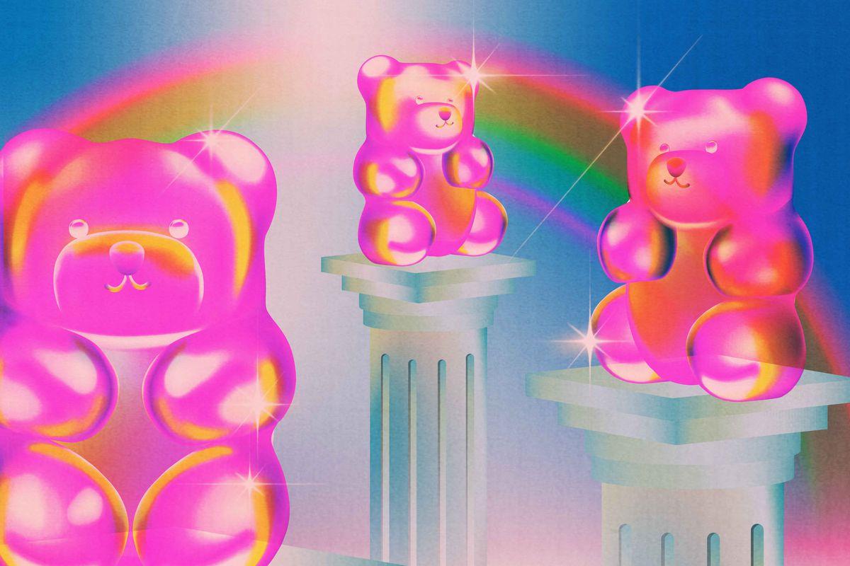Illustration of three glowing pink gummy bears atop Roman-style columns.