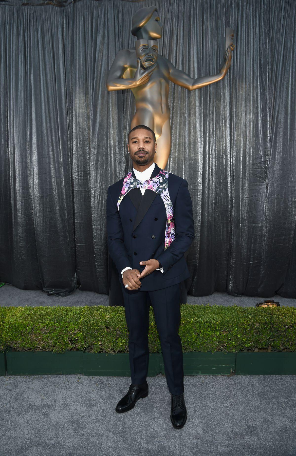 df61629988cb Michael B. Jordan at the 2019 SAG Awards in a Louis Vuitton harness.
