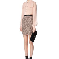 Look 4: Long-Sleeved Blouse in Blush, $34.99 Also Available in Solid White (Available at Target.com only) Lace-Printed Straight Skirt in Blush, $29.99 Lace Clutch in Black, $29.99