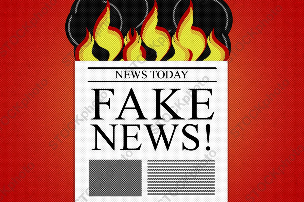 """An illustration mimicking stock art of a newspaper reading """"FAKE NEWS!"""" that's lit on fire"""