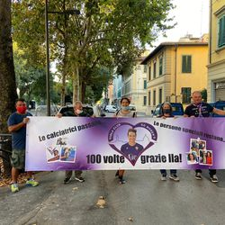 Ilaria Mauro banner outside of the Franchi