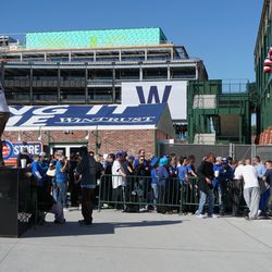 Fans waiting at the ticket windows, hoping that more tickets will be released. This was at 3 p.m.