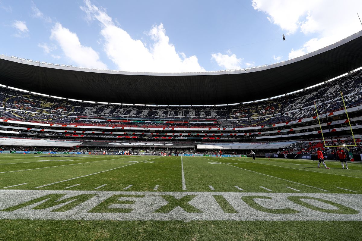 A general view of Estadio Azteca prior to the game between the New England Patriots and the Oakland Raiders on November 19, 2017 in Mexico City, Mexico.