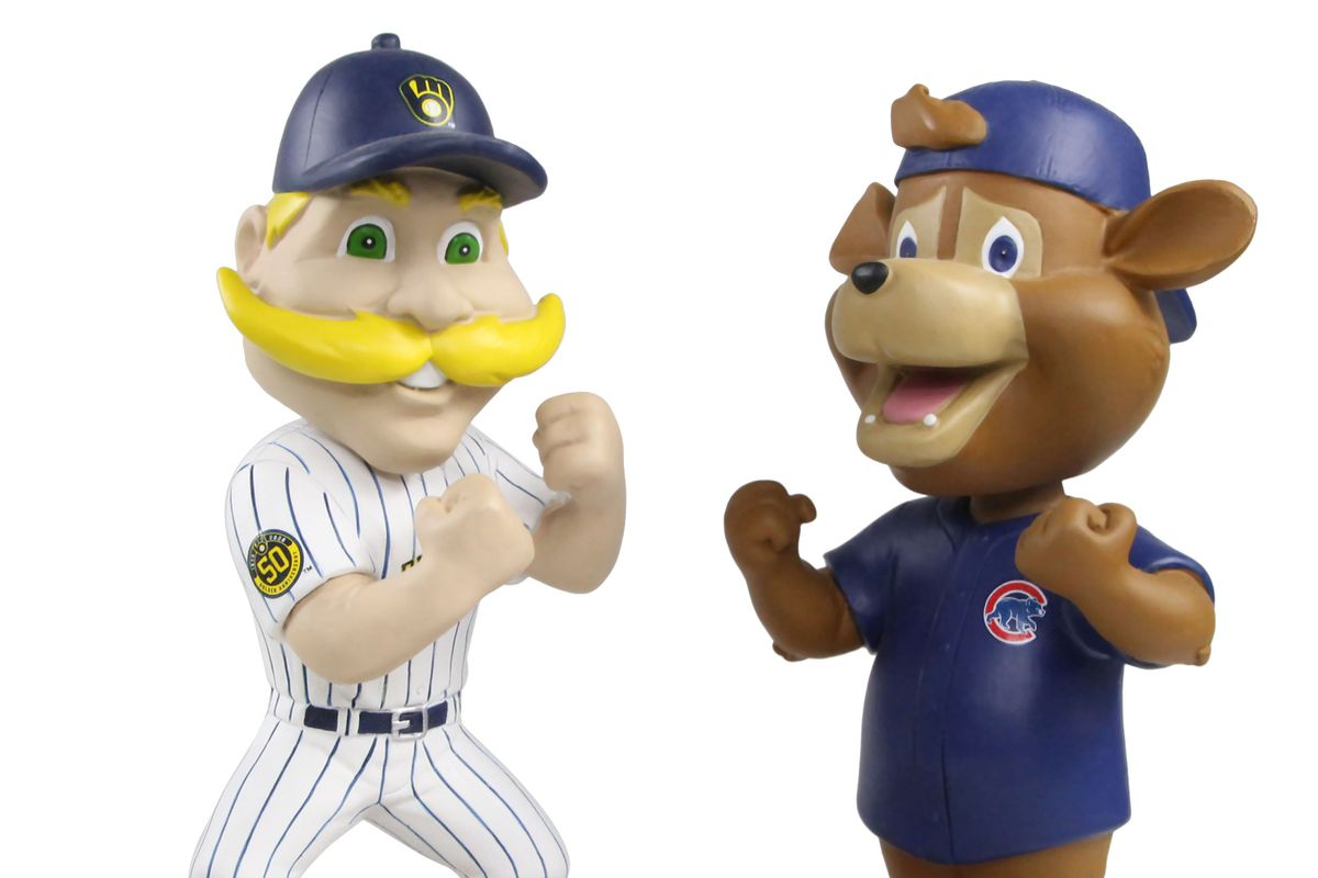 Clark the Cub and Bernie Brewer are trying to stay busy with the baseball season shut down.