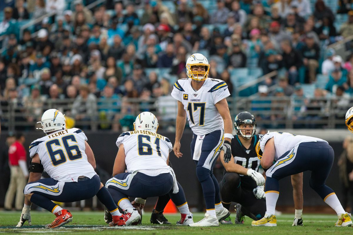 Los Angeles Chargers Quarterback Philip Rivers lines up for a play during the game between the Los Angeles Chargers and the Jacksonville Jaguars on December 8, 2019 at TIAA Bank Field in Jacksonville, Fl.