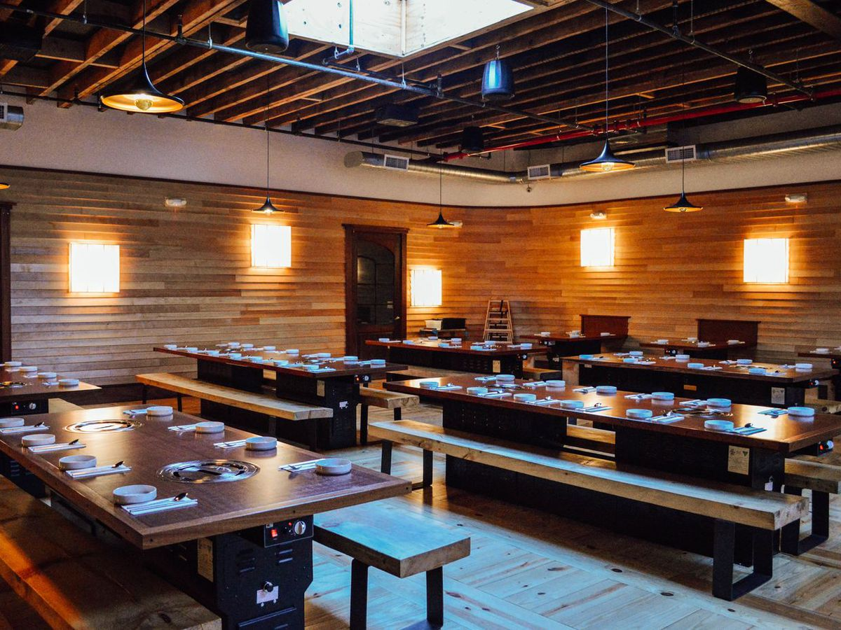 The long wooden communal tables at Insa