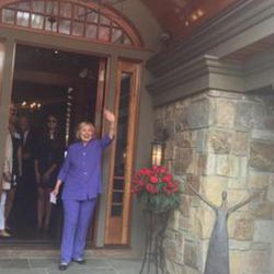 Democratic presidential candidate Hillary Clinton waves to the crowd at a Park City fundraiser in Aug. 5, 2015.