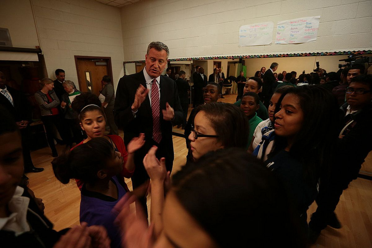 Mayor Bill de Blasio at M.S. 331 talking about after-school programs for middle school students in 2014.