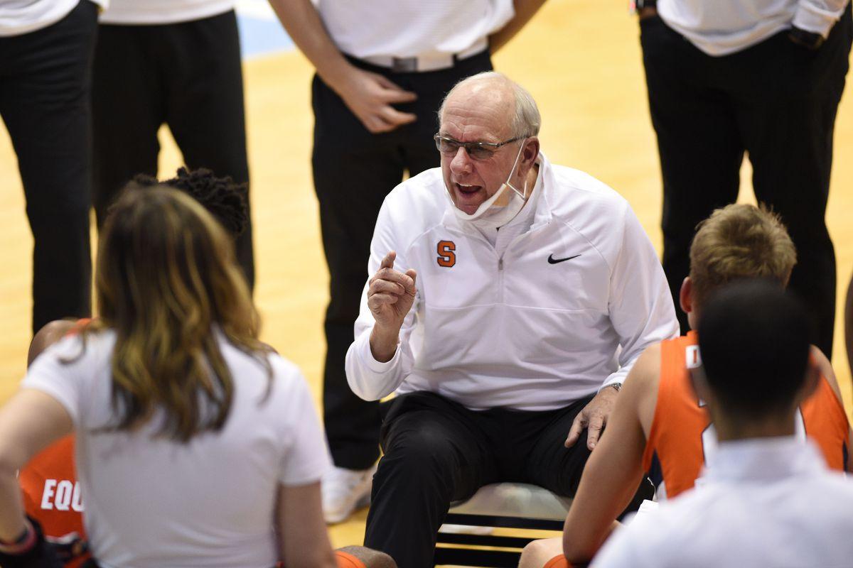 Syracuse Orange head coach Jim Boeheim talks to his team in the second half at Dean E. Smith Center.