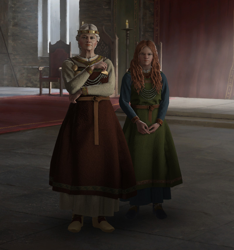 Crusader Kings 3 - an old high queen stands next to her young granddaughter, the heir to her kingdom.