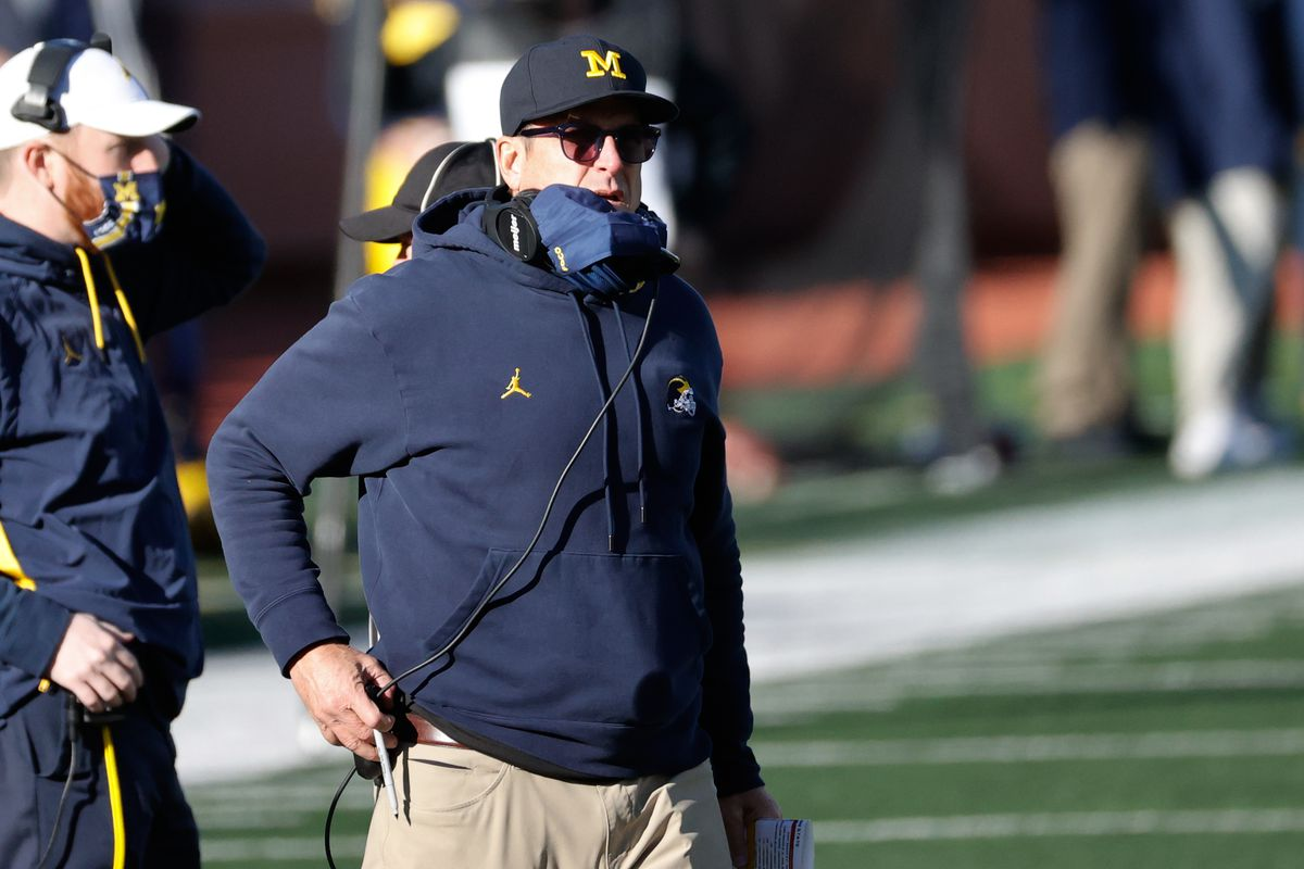 Michigan Wolverines head coach Jim Harbaugh on the sideline in the second half against the Penn State Nittany Lions at Michigan Stadium.