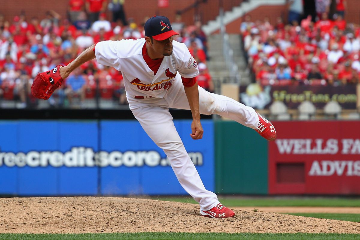 ST. LOUIS, MO - AUGUST 19: Starter Jamie Garcia #54 of the St. Louis Cardinals pitches against the Pittsburgh Pirates at Busch Stadium on August 19, 2012 in St. Louis, Missouri.  (Photo by Dilip Vishwanat/Getty Images)