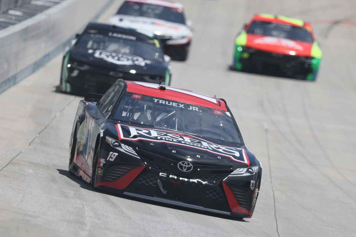 Martin Truex Jr., driver of the #19 Reser's Fine Foods Toyota, races during the NASCAR Cup Series Drydene 400 at Dover International Speedway on May 16, 2021 in Dover, Delaware.