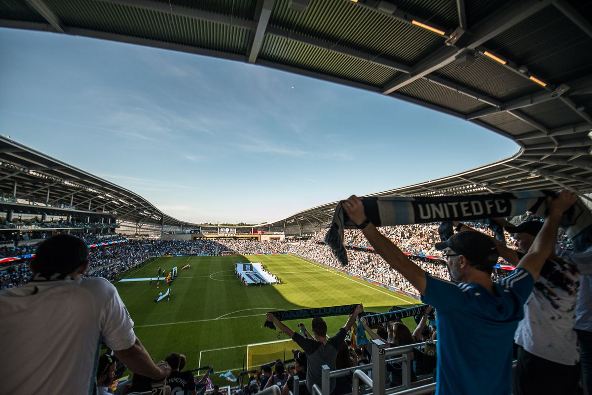 September 15, 2019 - Saint Paul, Minnesota, United States - Fans welcome the teams to the field before an MLS match between Minnesota United and Real Salt Lake at Allianz Field (Photo: Tim C McLaughlin)