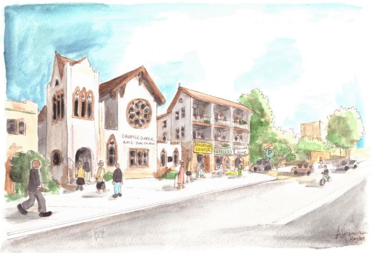 A watercolor sketch of a church with an adjacent housing development.