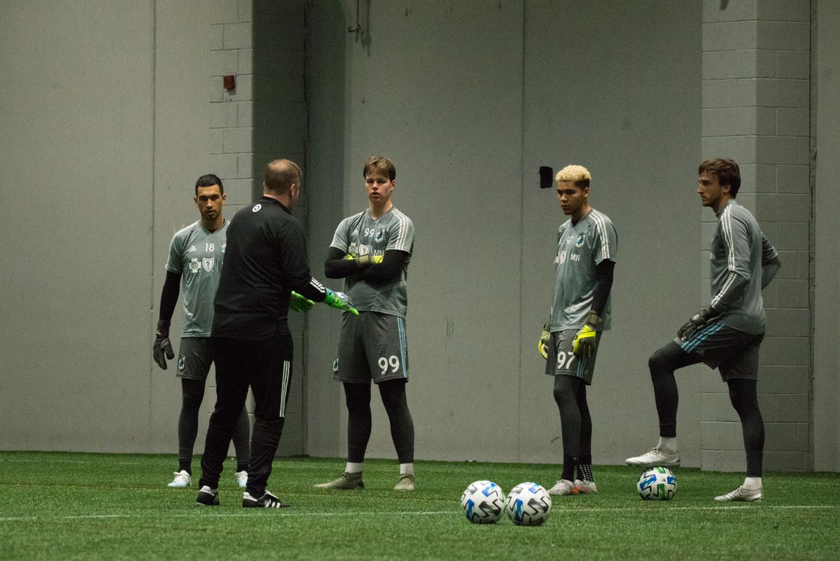January 21, 2020 - Blaine, Minnesota, United States - Minnesota United GK coach Stewart Kerr talks to the keepers during a training at National Sports Center. (Photo by Tim McLaughlin)