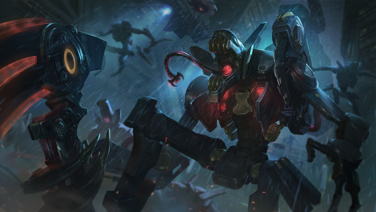 Praetorian Fiddlesticks opens its robot mouth and has a disgusting cord-like tongue