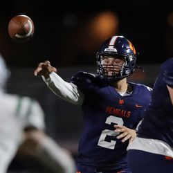Brighton quarterback Jack Johnson passes the ball as the Bengals and Olympus play a high school football game at Brighton in Cottonwood Heights on Friday, Sept. 10, 2021. Olympus won 35-28.