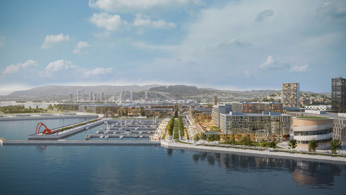 A rendering of the Shipyard project, with scores of new buildings on the waterfront.