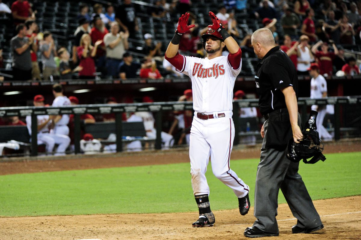 Peralta celebrates his 11th inning homer. How long ago it all seems...