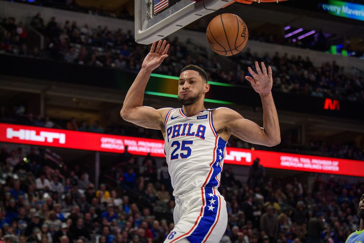 Philadelphia 76ers guard Ben Simmons dunks the ball against the Dallas Mavericks during the first quarter at the American Airlines Center.