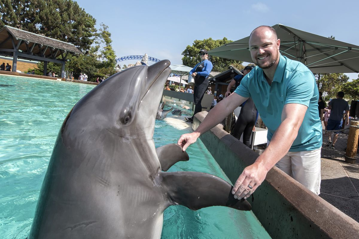 Jon Lester Of The Chicago Cubs Visits SeaWorld San Diego