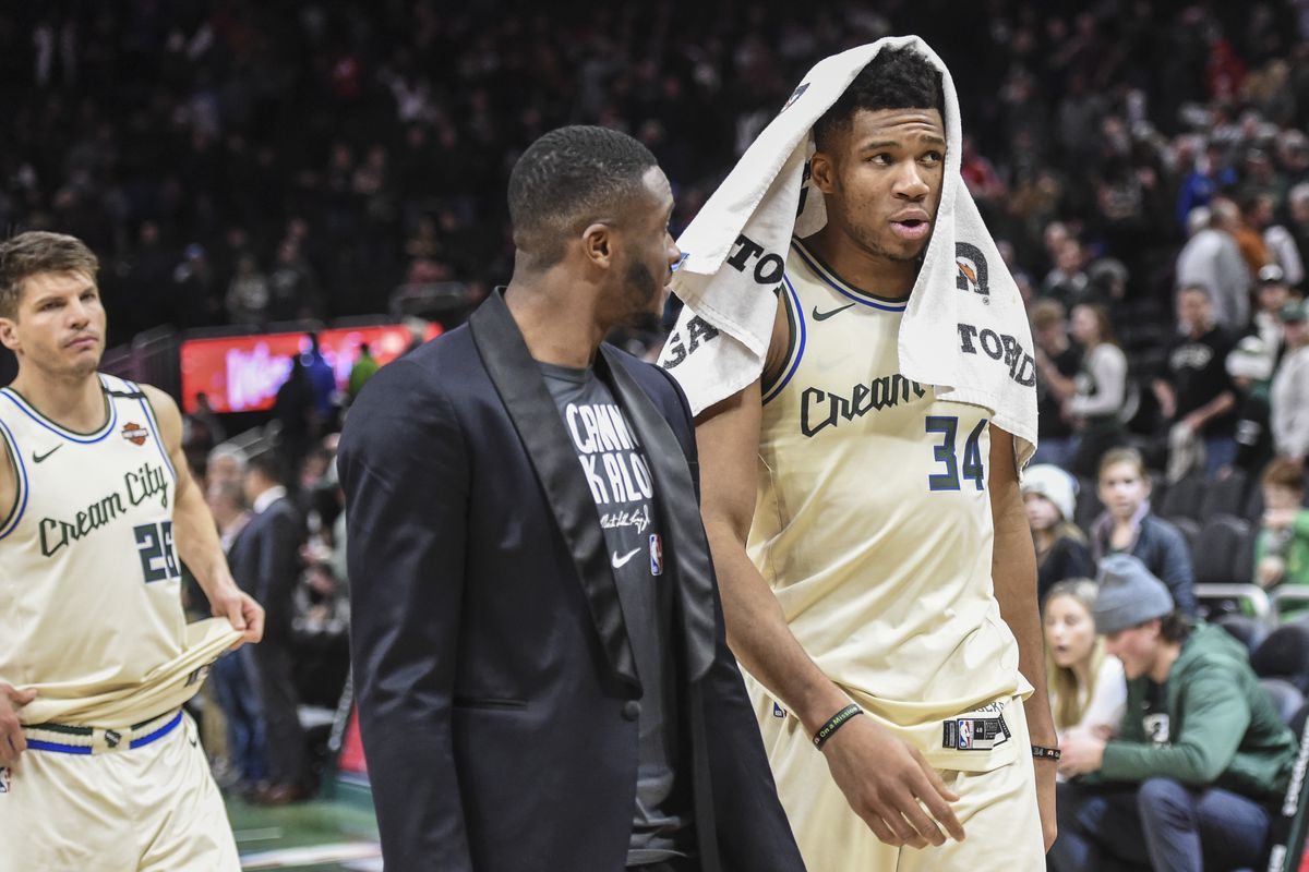 Milwaukee Bucks forward Giannis Antetokounmpo walks off the court after a triple-double game to help beat the Chicago Bulls at Fiserv Forum.