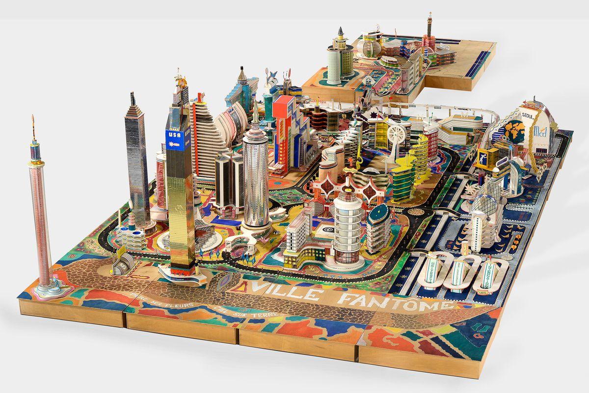 Colorful cityscape sculpture