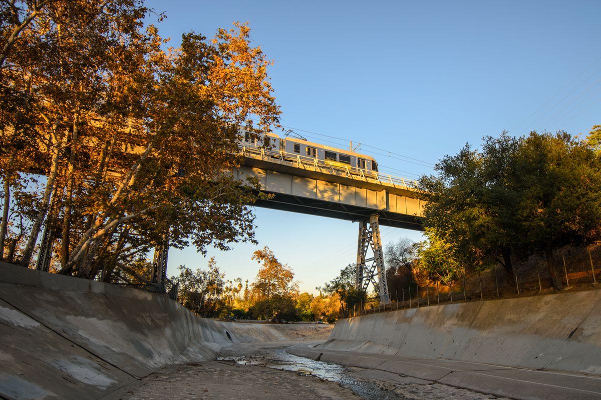 Gold Line passing over a bridge