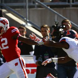 Wide Receiver Natrell Jamerson is pushed out of bounds