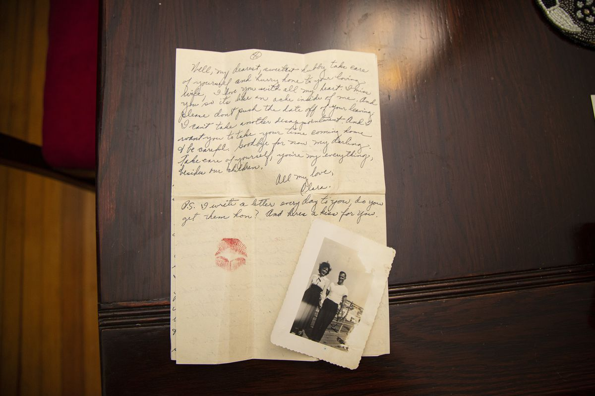 Clara Fragassi sealed each of her letters to her husband Fred with a kiss. Her bright red lipstick is still vibrant on the pages 75 years later.