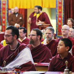 Members of the Tibetan Buddhist Temple participate in annual Prayers for Compassion celebrations in Salt Lake City Thursday, July 3, 2014. The three-day festival offers members of the Salt Lake community a chance to observe, support and participate in a beautiful round-the-clock ritual generating compassion and loving-kindness on behalf of all sentient beings.