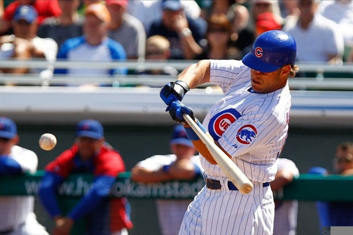 Chicago Cubs center fielder Brett Jackson swings at a pitch during the first inning against the Cincinnati Reds at HoHoKam Park. Credit: Debby Wong-US PRESSWIRE