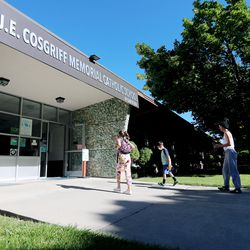 A couple of the students arrive at J.E. Cosgriff Memorial Catholic School in Salt Lake City on Monday, June 22, 2020. The school is offering a modest summer program for students.