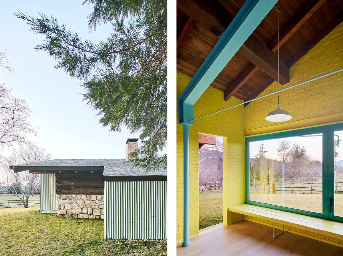 A collage of two images: The exterior features low-slung roof profile with stone facade elements, and the interior view features yellow walls with blue-green trimming.