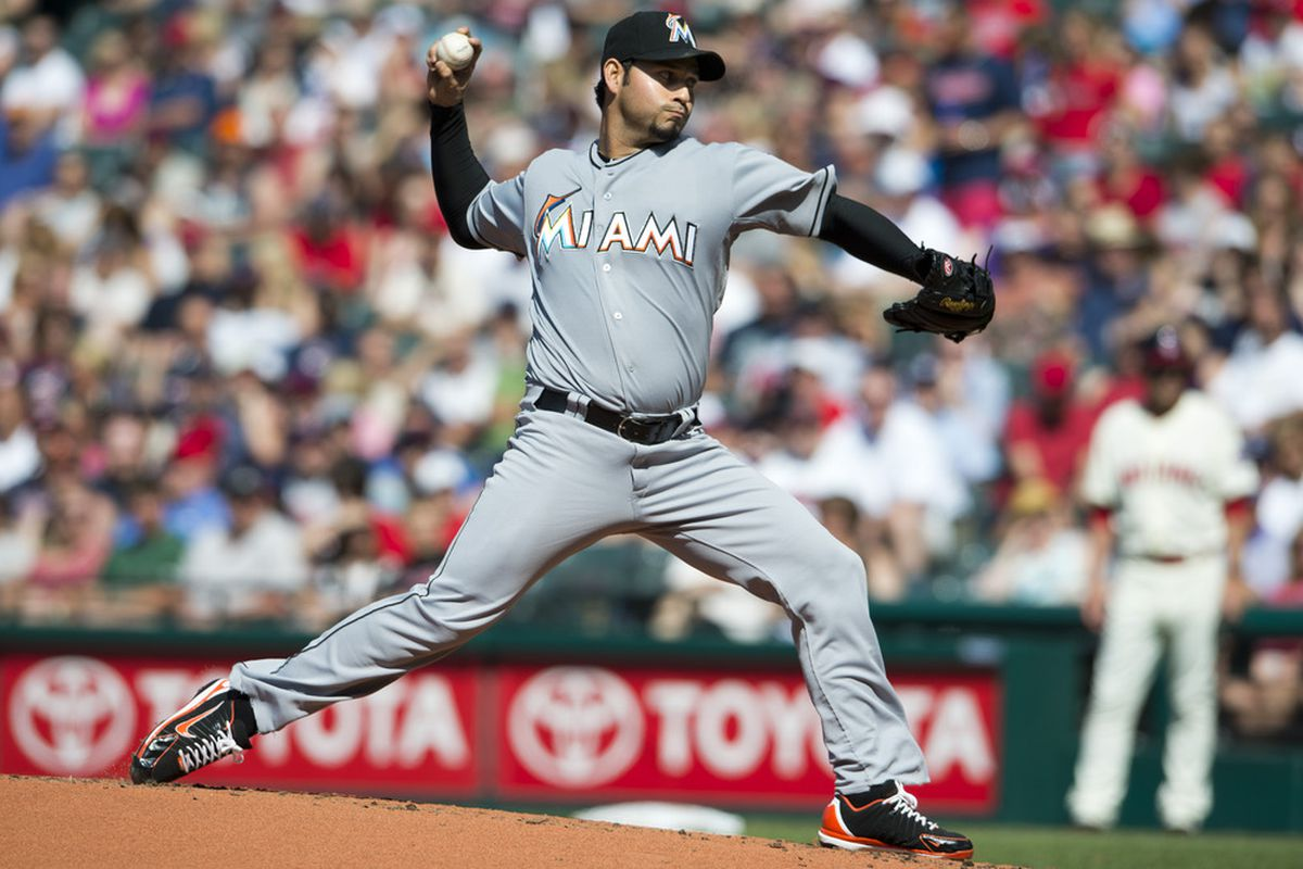 CLEVELAND, OH - MAY 19: Starting pitcher Anibal Sanchez #19 of the Miami Marlins pitches during the second inning against the Cleveland Indians at Progressive Field on May 19, 2012 in Cleveland, Ohio. (Photo by Jason Miller/Getty Images)