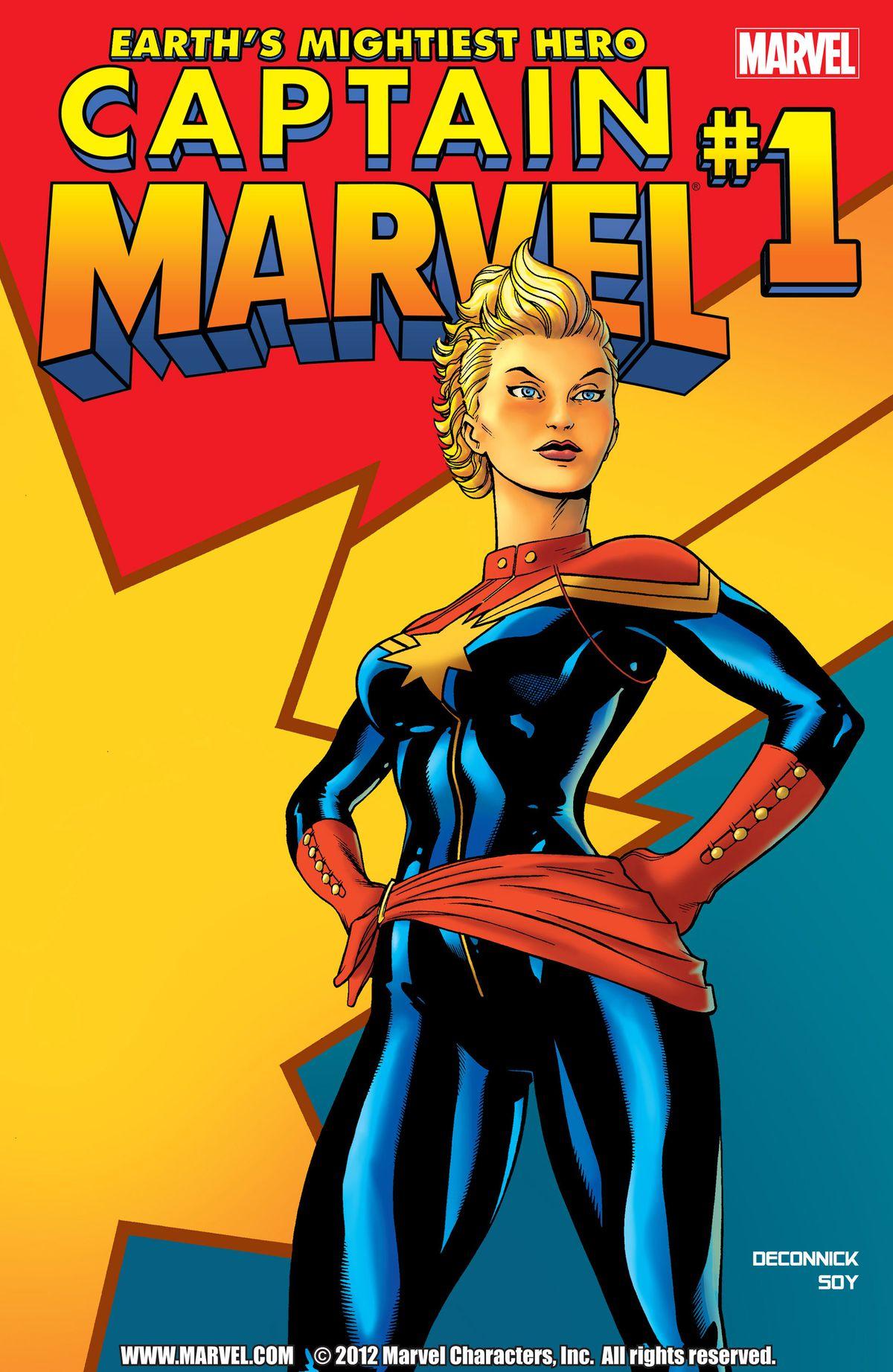 Carol Danvers as Captain Marvel on the cover of Captain Marvel #1, Marvel Comics (2012).
