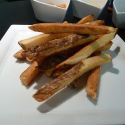 The regular skin-on fries, dusted with sea salt.