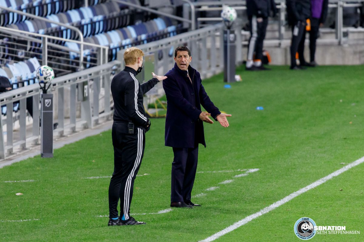 October 18, 2020 - Saint Paul, Minnesota, United States - Houston Dynamo head coach Tab Ramos has a discussion with the 4th official Ian McKay during the Minnesota United vs Houston Dynamo match at Allianz Field.