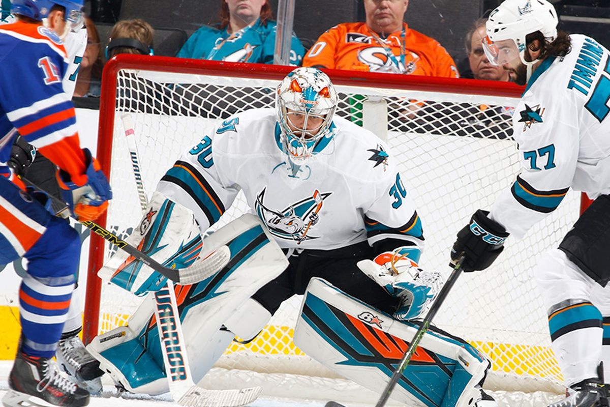 San Jose Barracuda goaltender Aaron Dell eyes the puck during Sunday afternoon's game against the Bakersfield Condors at the SAP Center Sunday afternoon. (SJBarracuda.com).