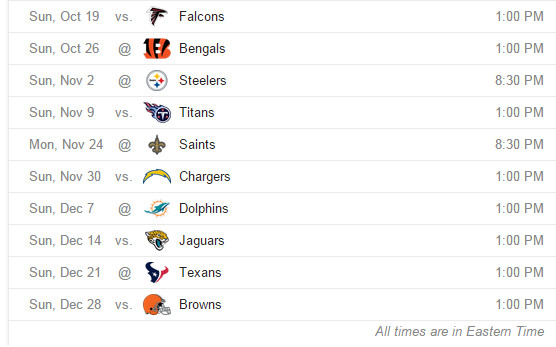 Ravens remaining schedule
