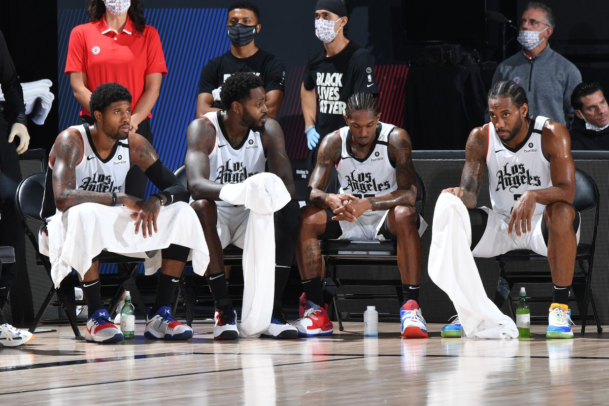 The LA Clippers looks on during the game against the Denver Nuggets during Game Six of the Western Conference Semifinals on September 13, 2020 in Orlando, Florida at AdventHealth Arena.