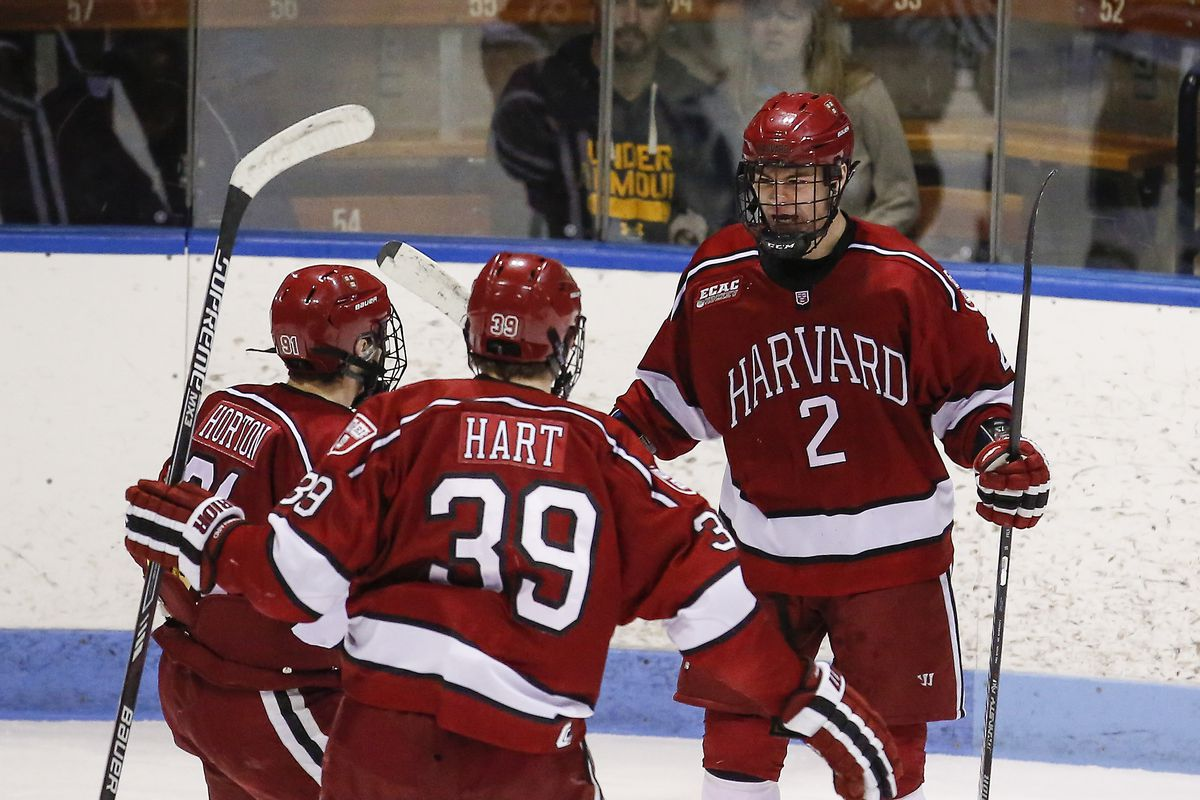 Harvard players celebrate a goal in a ECAC Hockey Tournament game at Yale.