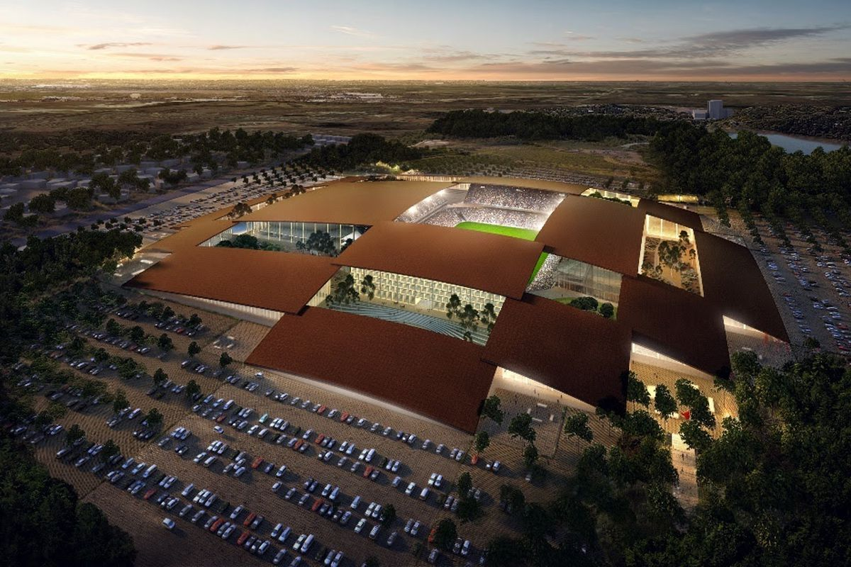 Rendering of a stadium with a patchwork of roofs