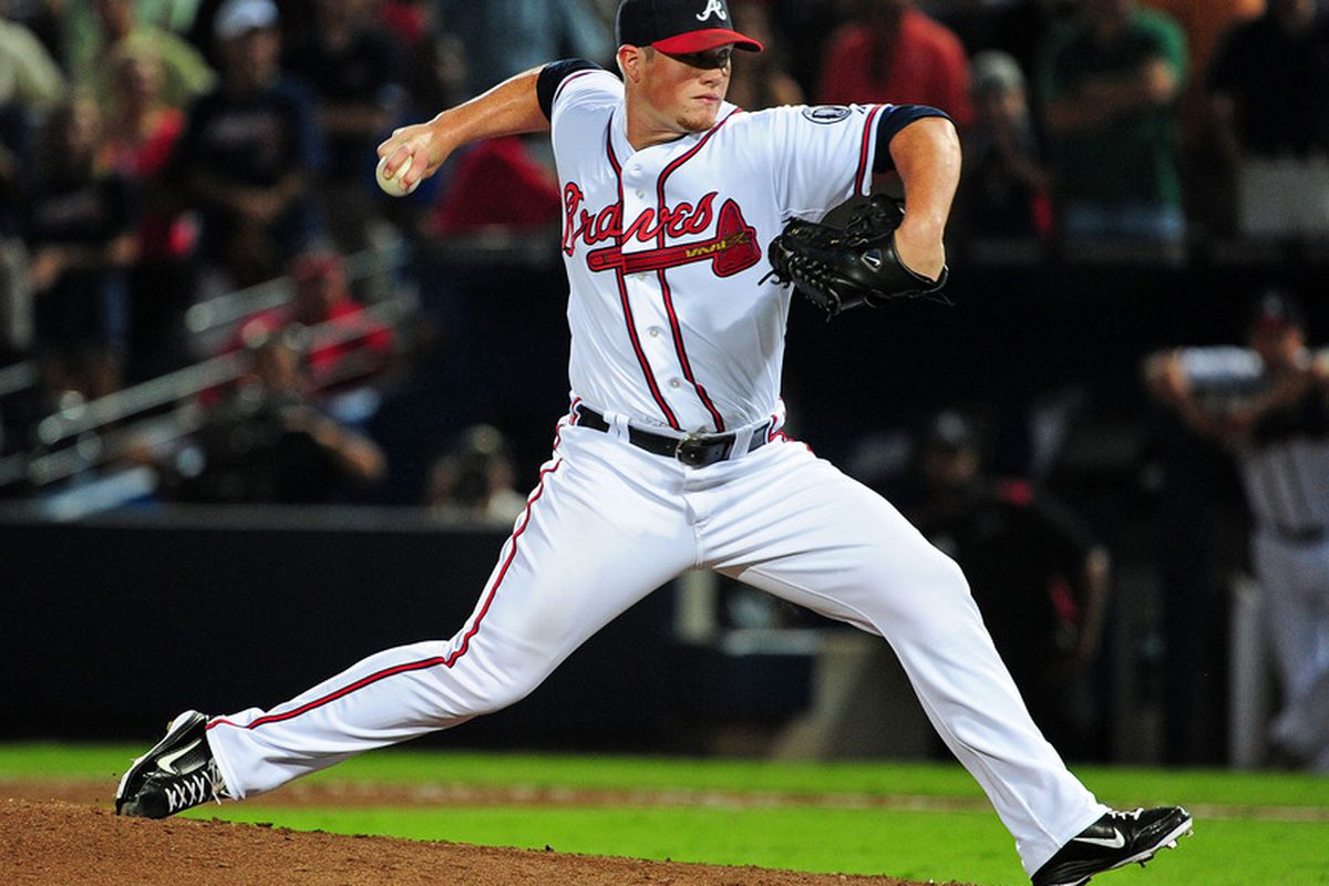 ATLANTA - AUGUST 31: Craig Kimbrel #46 of the Atlanta Braves pitches against the Washington Nationals at Turner Field on August 31, 2011 in Atlanta, Georgia. (Photo by Scott Cunningham/Getty Images)