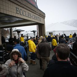 """Attendees and volunteers wait outside the Eccles Theatre in Park City for the premier of the Sundance documentary """"An Inconvenient Sequel: Truth to Power"""" on Thursday, Jan. 19, 2017."""
