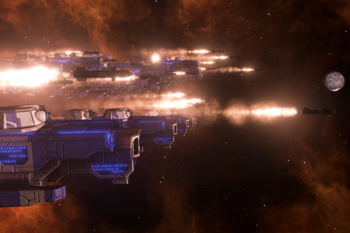 45ef918a47d Starships fire a fusillade of missiles in Stellaris  Console Edition.  Paradox Interactive