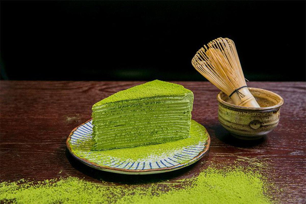 The mille crepe cake from Amausaan Uji Matcha